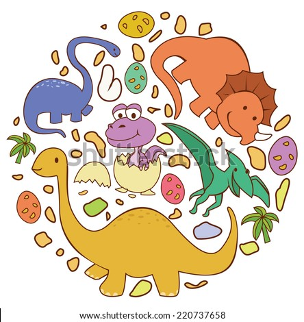 Dinosaur Cute Circle Banner - stock vector