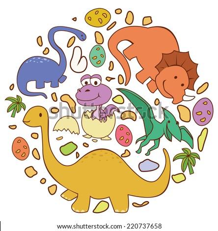 Dinosaur Cute Circle Banner - stock vector