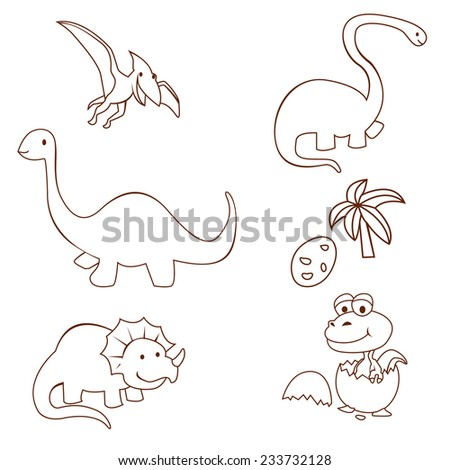 Dinosaur Cute Object Collection Hand Drawn Sketch Doodle - stock vector