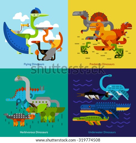 Dinosaur design concept set with flying underwater predatory prehistoric animals flat icons isolated vector illustration