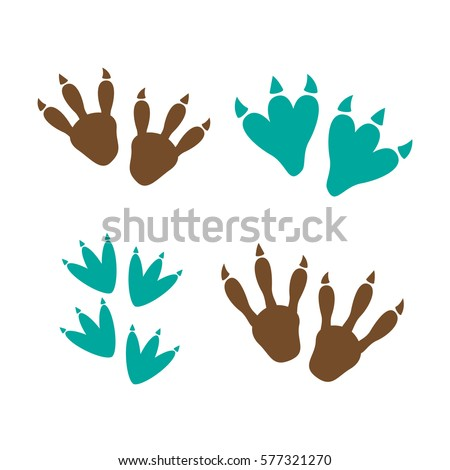 Dinosaur footprint tracks vector set illustration. Dinosaur footprint vector