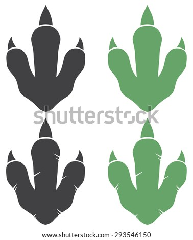 Dinosaur Footprint. Vector Illustration With Text Vector Collection Set - stock vector