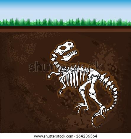 Dinosaur fossil, vector illustration - stock vector