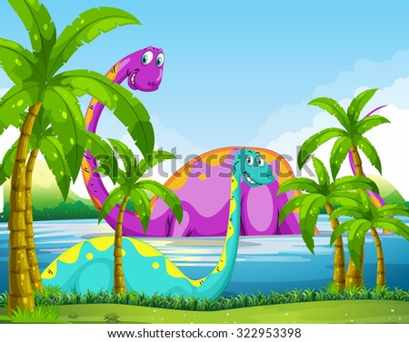 Dinosaur having fun in the lake illustration - stock vector