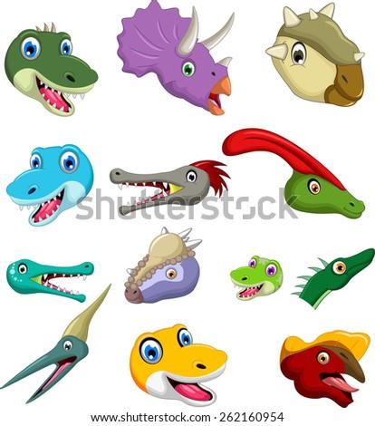 Dinosaur head cartoon collection set for you design  - stock vector