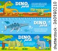 Dinosaur horizontal banners set in flat design style. Dino park with animal prehistoric, vector illustration - stock photo