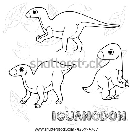 dinosaur iguanodon cartoon vector illustration monochrome
