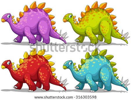 Dinosaur in four different colors illustration - stock vector