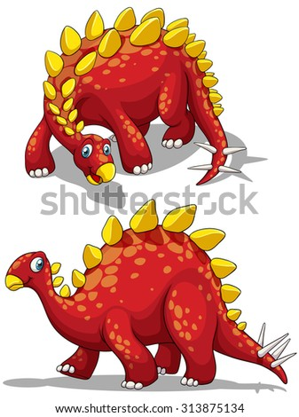 Dinosaur in red color illustration - stock vector