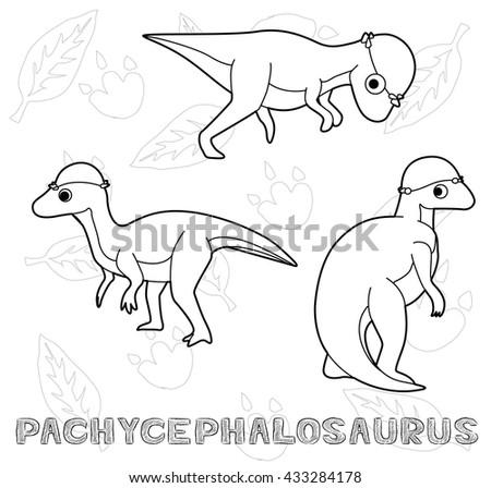 dinosaur pachycephalosaurus cartoon vector illustration monochrome