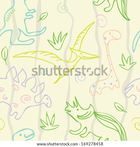dinosaur pattern - stock vector