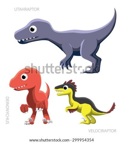 Dinosaur Raptors Vector Illustration - stock vector