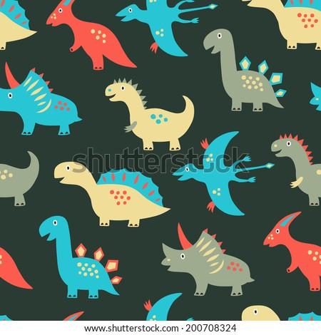Dinosaur seamless background. Vector illustration.  - stock vector