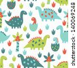 dinosaur seamless pattern - stock vector