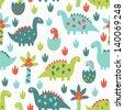 dinosaur seamless pattern - stock vector