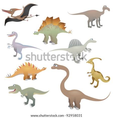 Dinosaur set, vector illustration - stock vector
