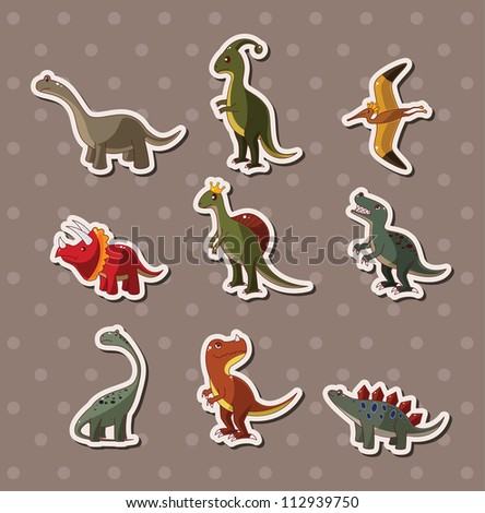 dinosaur stickers - stock vector