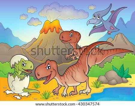 Dinosaur topic image 6 - eps10 vector illustration. - stock vector