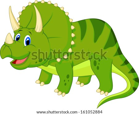 Dinosaur Triceratops cartoon - stock vector