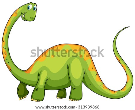 Dinosaur with long neck and tail illustration - stock vector
