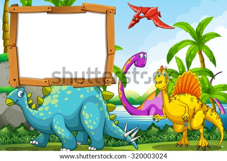 Dinosaurs at the lake illustration - stock vector