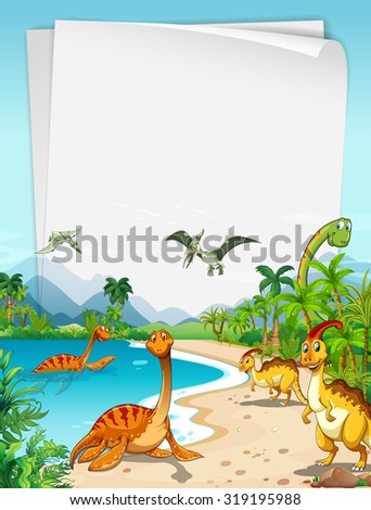 Dinosaurs at the ocean illustration - stock vector