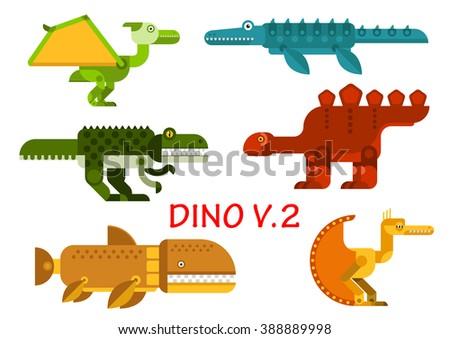 Dinosaurs icons with prehistoric animals and water reptiles. Colorful tyrannosaurus, raptor, brontosaurus, stegosaurus, pterodactyl and velociraptor monsters - stock vector