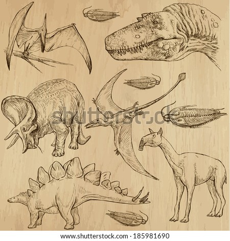 DINOSAURS -Life in prehistoric times (set no. 4) - Collection of an hand drawn illustrations. Description: Each drawing comprise of two layer of outlines, colored background is isolated. - stock vector