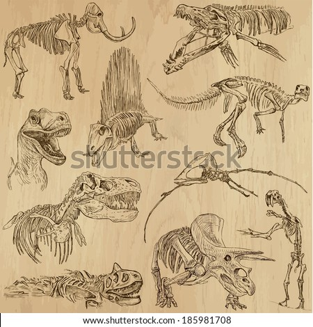 DINOSAURS -Life in prehistoric times (set no. 5) - Collection of an hand drawn illustrations. Description: Each drawing comprise of two layer of outlines, colored background is isolated. - stock vector