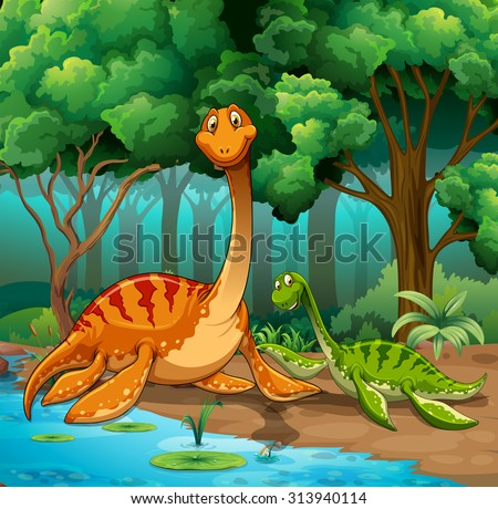 Dinosaurs living in the jungle illustration - stock vector