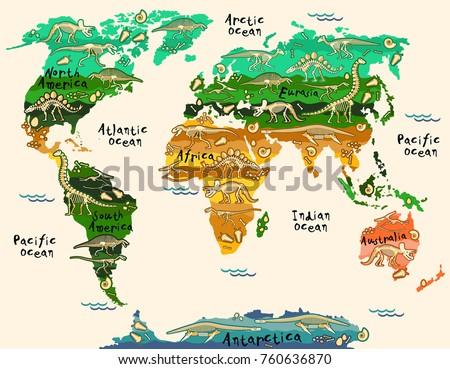 Dinosaurs Map World Children Kids Stock Vector 760636870 Shutterstock