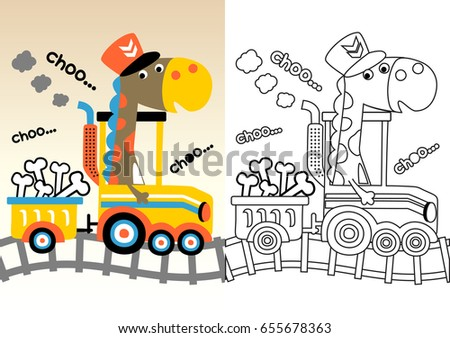 Dinosaurs On Train Vector Cartoon Coloring Book Page