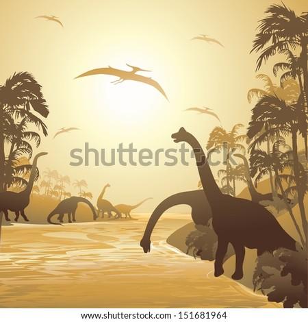 Dinosaurs on Tropical Jurassic Landscape - stock vector