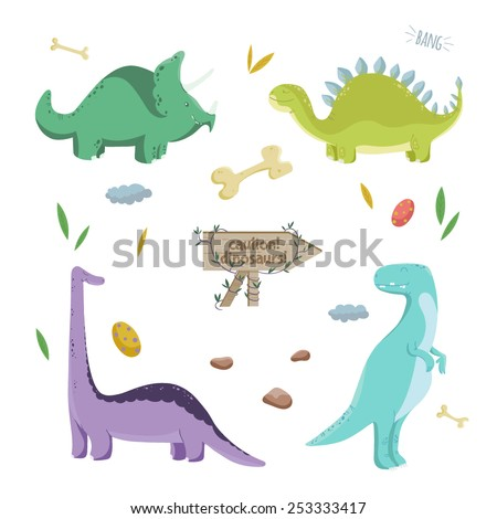 Dinosaurs set. Vector illustration with colorful dinosaurs. Perfect for invitation card, poster on the Dino party.