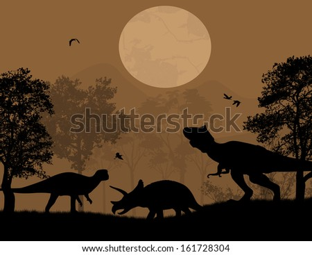 Dinosaurs silhouettes in beautiful landscape at night, vector illustration - stock vector