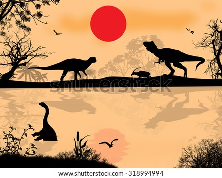 Dinosaurs silhouettes in beautiful landscape at sunset near water, vector illustration - stock vector