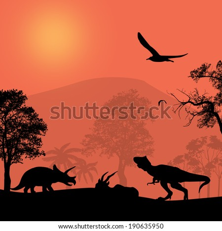 Dinosaurs silhouettes in beautiful landscape at sunset, vector illustration - stock vector