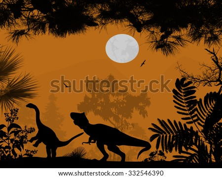 Dinosaurs silhouettes in beautiful landscape on orange background, vector illustration - stock vector