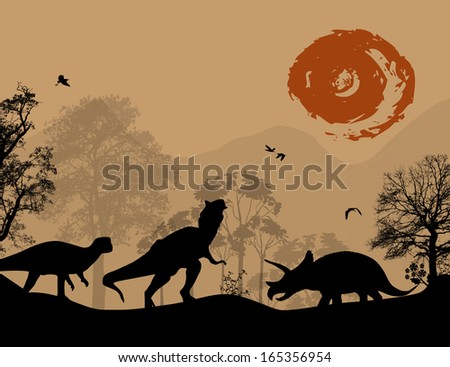 Dinosaurs silhouettes in beautiful landscape, vector illustration - stock vector
