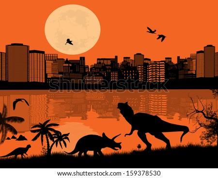 Dinosaurs Silhouettes - Tyrannosaurus T-Rex and Triceratops in front a city scape, vector illustration - stock vector