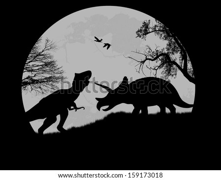 Dinosaurs Silhouettes - Tyrannosaurus T-Rex and Triceratops, in front a full moon, vector illustration - stock vector