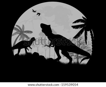 Dinosaurs Silhouettes - Tyrannosaurus T-Rex  in front a full moon, vector illustration - stock vector
