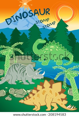 Dinosaurs stomp stomp next to a volcano .