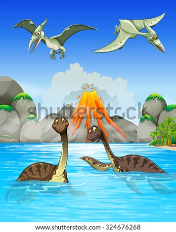 Dinosaurs swimming in the lake illustration - stock vector