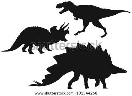 Dinosaurs vector Silhouettes, Tyrannosaurus T-Rex - large meat-eater dinosaur, Triceratops - horned dinosaur and Stegosaurus - plated dinosaur - stock vector