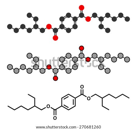 Dioctyl terephthalate (DOTP, DEHT) plasticizer molecule. Phthalate alternative, used in PVC plastics. Stylized 2D renderings and conventional skeletal formula. - stock vector