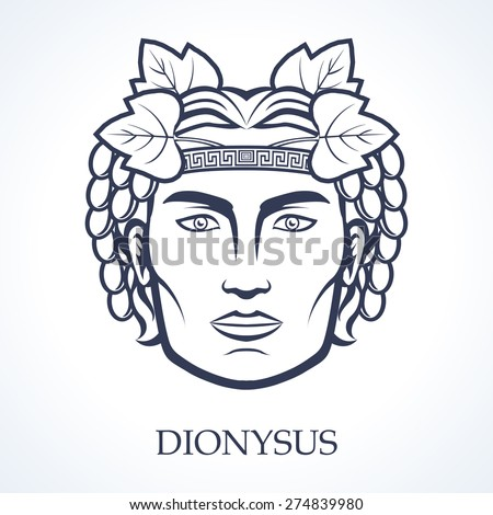 Dionysus, ancient greek god of grape harvest, winemaking and wine - stock vector