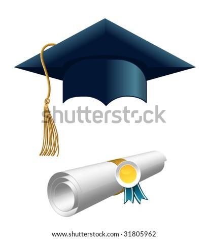 diploma and graduation cap - stock vector