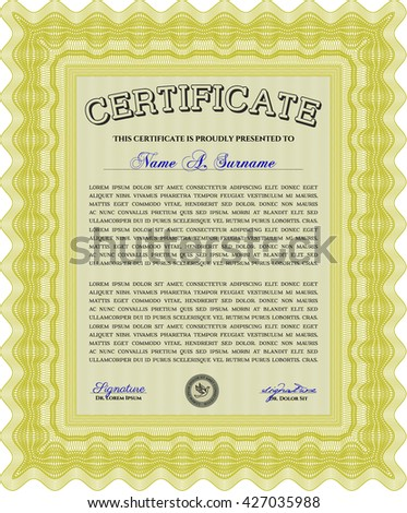 Diploma. Border, frame. Excellent design. With background. Yellow color.