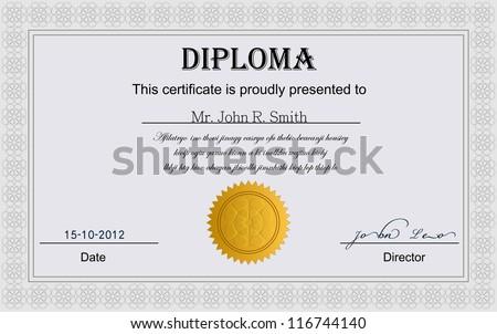 Diploma Certificate. - stock vector